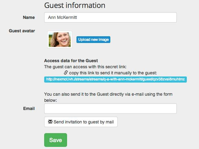 Invite a guest or answer yourself